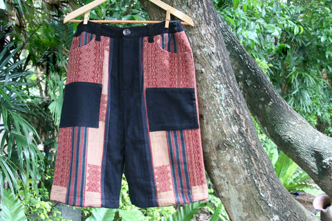 Luke,-,Ethnic,Naga,Men's,Shorts,In,Brown,Hand,Woven,Tribal,Patterns,ethical mens fashion, unique mens shorts, tribal mens styles, mens fairtrade clothing, ethnic Naga textiles, 34, 35, 36, 37