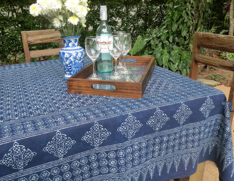 Rectangular,Hmong,Batik,Tablecloth,In,3,Sizes,boho tablecloth,batik tablecloth, Hmong indigo batik tablecloth, wedding tablecloth, blue cotton tablecloth, garden party decorations, garden wedding table, boho home decor