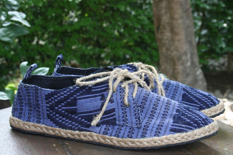 Matt,-,Mens,Sneaker,Oxford,In,Blue,Hand,Woven,Isaan,Textiles,mens shoes, mens espadrilles, handmade shoes, vegan mens shoes, ethnic shoes, hemp shoes, handmade, oxfords, eco friendly shoes, fair trade, mens fashion,mens ethical fashion