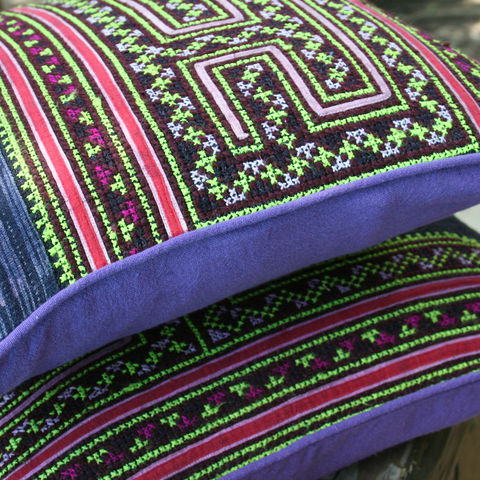 16,,Hmong,Pillow,/,Cushion,Purple,Ethnic,Embroidery,and,Batik,Housewares,Embroidered boho pillow, boho Cushion,Tribal,Hmong_Pillow,Hmong_Cushion,Pillow_Cover,Cushion_Cover,Ethnic_Pillow,housewares,bohemian,throw_pillow,purple_pillow,batik,cotton,embroidery