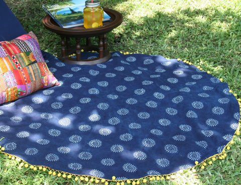 Round,Throw,Blanket,-,Hmong,Indigo,Batik,Picnic,/,With,Pom,Trim,boho blanket.Hmong blanket,Bohemian_decor,Hmong indigo batik,patchwork_throw blanket,batik blanket, boho blanket, natural cotton play blanket,indigo batik picnic blanket,lap_blanket,boho sofa_blanket,sofa_throw,small Hmong_blanket