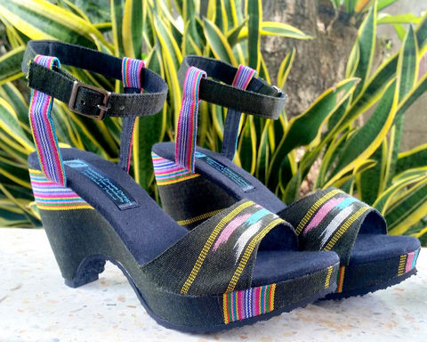 Chelsea,-,Women's,Cut,Out,Wedge,Heel,Ethnic,Sandals, Siamese Dream Design, vegan shoes, womens ethnic sandals, boho shoes, vegan sandals, handmade shoes, fair trade, eco friendly fashion, womens ethical fashion