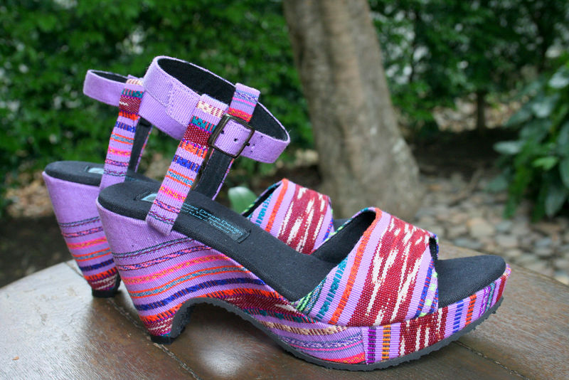 Chelsea - Women's Purple Cut Out Wedge Heel Ethnic Sandals  - product images  of
