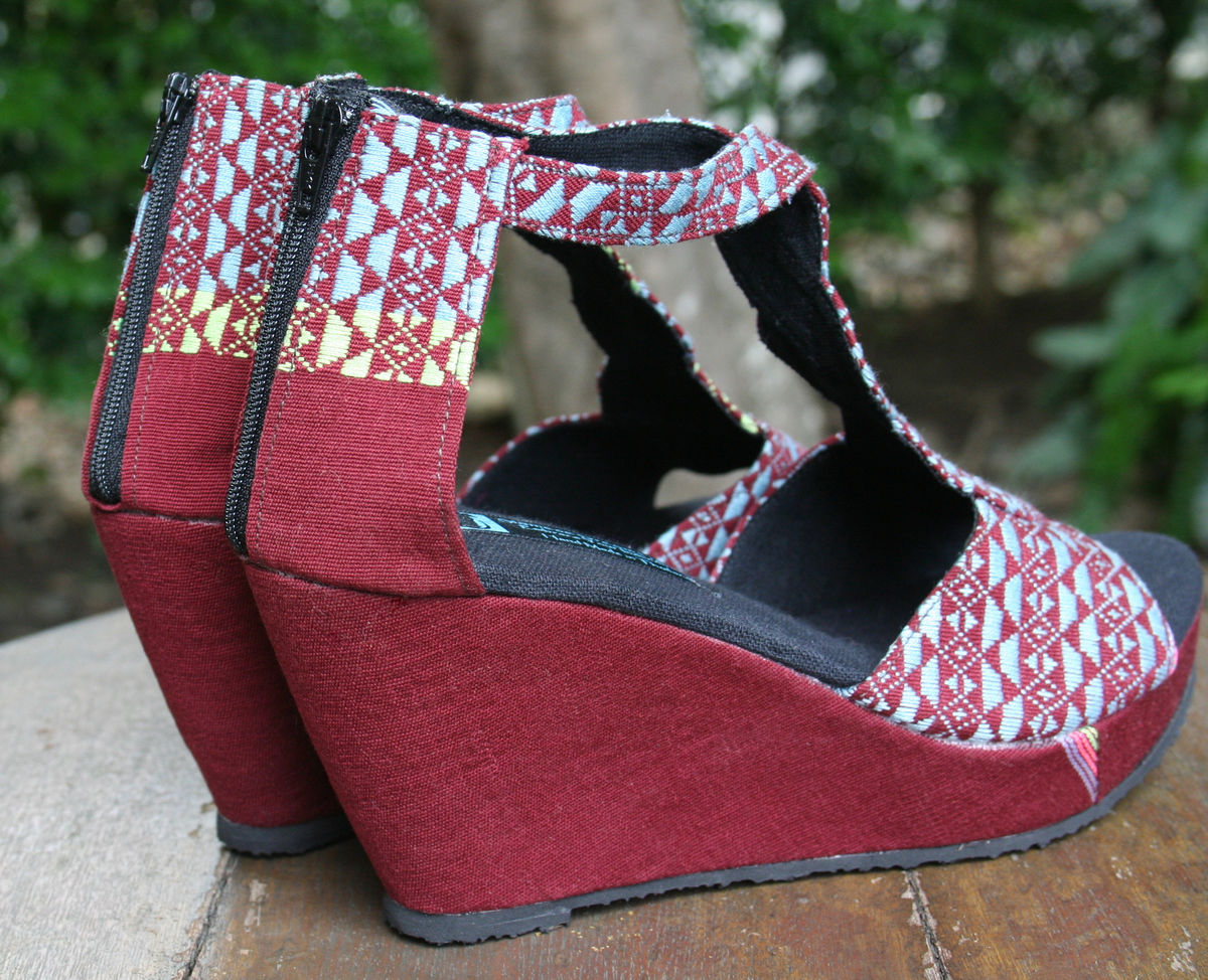 Hilary - T Strap Womens Wedge Heel Vegan Sandals In Hand Woven Textiles - product images  of