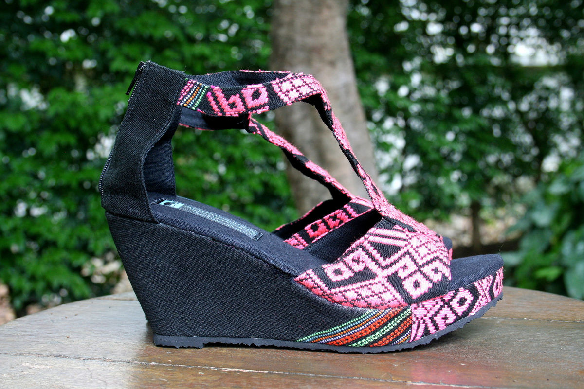 Hilary - T Strap Womens Wedge Heel Vegan Sandals In PInk Hand Woven Textiles - product images  of