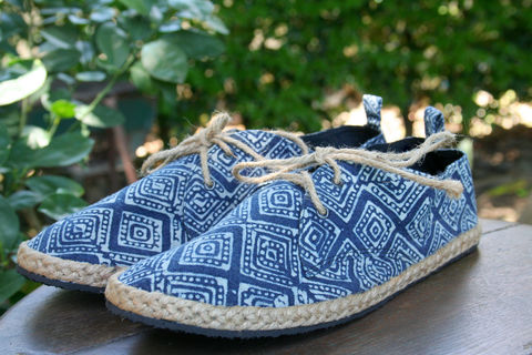 Maddie,-,Women's,Sneaker,Oxford,In,Indigo,Batik,womens shoes, womens espadrilles, handmade shoes, vegan womens shoes, ethnic shoes, hemp shoes, handmade, oxfords, eco friendly shoes, fair trade, womens fashion, womens ethical fashion