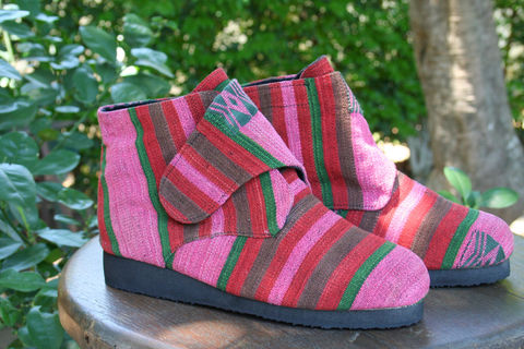 Cyndie,-,Womens,Vegan,Ankle,Boot,In,Bright,Naga,Textiles,Clothing,Shoes,Womens ankle boots,ethnic Boots,Ethnic,Retro,womens Bootie,Fair_Trade,Vegan_Shoe,Tribal_Shoe,Embroidered_Boot,8_9_9_5,cotton,embroidered,vegan boots