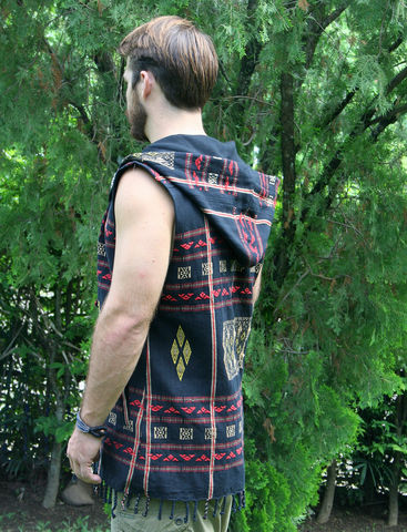 Derek,-,Tribal,Men's,Hoodie,Vest,In,Black,Ethnic,Naga,3,Patterns,mens hoodie vest, mens eco fashion, fall 2016 mens fashion, mens festival wear, black men's vest with hood, mens tribal vest, men's waist coat, burning man, boho mens fashion,