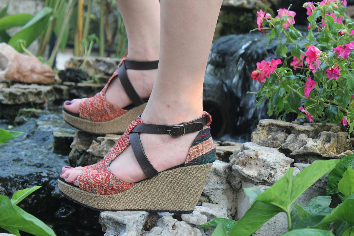 Leighanna Wedge Heel Vegan Womens Sandals Tribal Naga Embroidery - product images  of