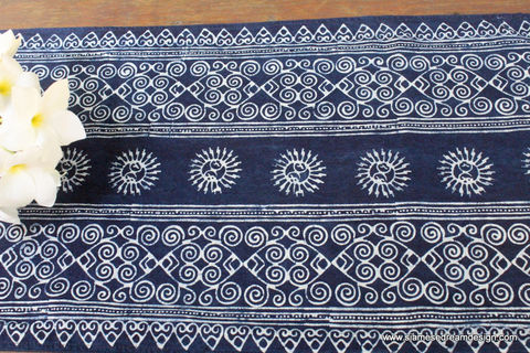 Table,Runner,In,Hmong,Indigo,Batik,Suns,Hmong indigo batik table runner, boho table runner, indigo runner, ethnic home decor, 5 foot table runner, bohemian table