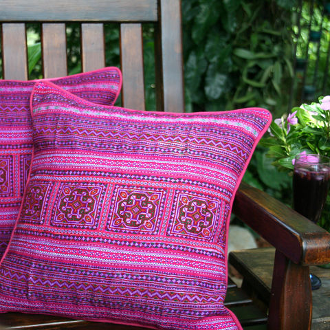 Pink,Hmong,Embroidered,Pillow,boho pillow, Hmong pillow, pink pillows, pink embroidered pillows, colorful pillows, bright boho cushions, colorful boho cushions