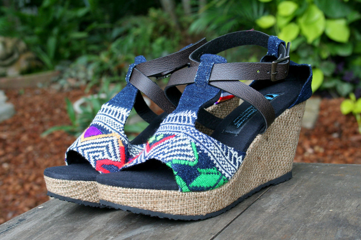 Leighanna - Womens Wedge Heel Sandals In Colorful Laos Embroidery - product images  of