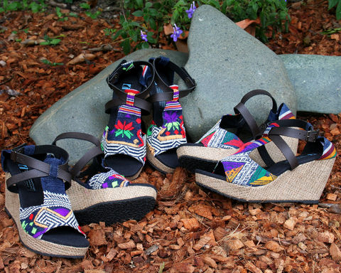 Leighanna,-,Womens,Wedge,Heel,Sandals,In,Colorful,Laos,Embroidery, Siamese Dream Design, Hmong shoes,vegan shoes, womens ethnic sandals, tribal shoes, vegan sandals,handmade shoes, fair trade, eco friendly fashion,womens