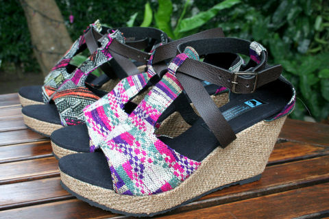 Leighanna,-,Womens,Wedge,Heel,Sandals,In,Laos,Embroidery, Siamese Dream Design, Hmong shoes,vegan shoes, womens ethnic sandals, tribal shoes, vegan sandals,handmade shoes, fair trade, eco friendly fashion,womens