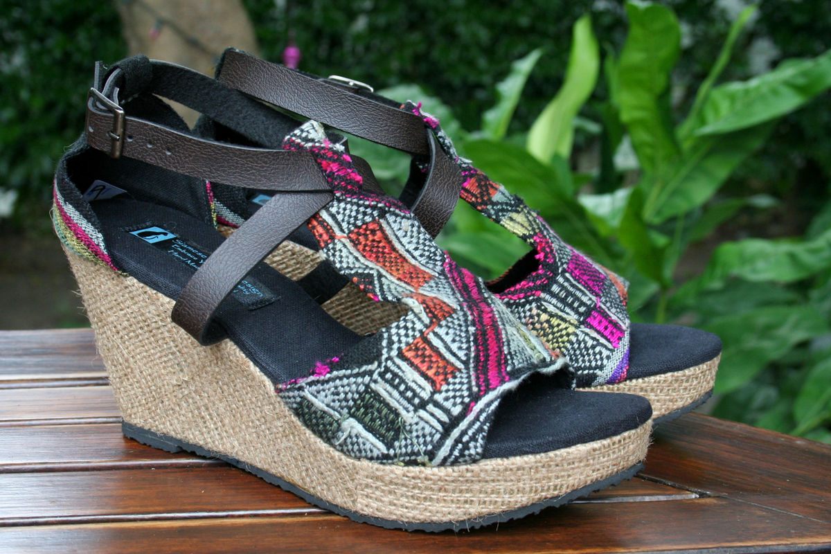 Womens Wedge Heel Sandals In Laos Embroidery - Leighanna  - product images  of