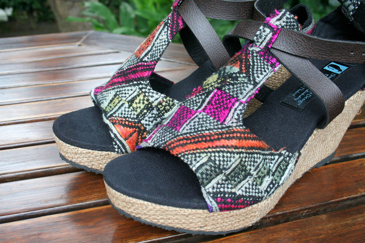 Leighanna - Womens Wedge Heel Sandals In Laos Embroidery - product images  of