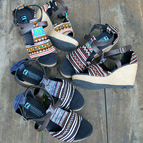 Leighanna,Womens,Vegan,Wedge,Heel,Sandals,In,Earthy,Hmong,Embroidery, Siamese Dream Design, boho sandals, Hmong shoes, vegan shoes, womens ethnic sandals, tribal shoes, vegan sandals,handmade shoes, fair trade, eco friendly fashion,womens