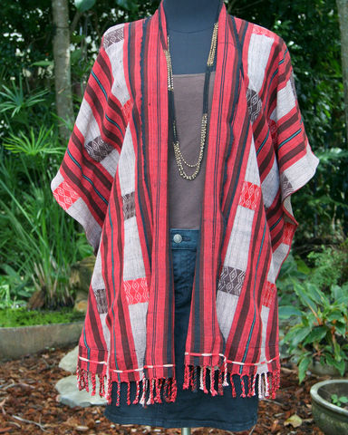 Raya,-,Kimono,Jacket,In,Brown,and,Red,Tribal,Naga,womens kimono jacket, womens tribal jacket, boho womens jacket, ethnic kimono jacket, black kimono jacket