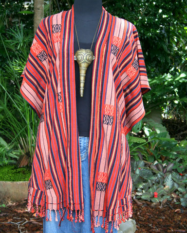 Raya,-,Kimono,Jacket,In,Black,and,Red,Tribal,Naga,womens kimono jacket, womens tribal jacket, boho womens jacket, ethnic kimono jacket, black kimono jacket