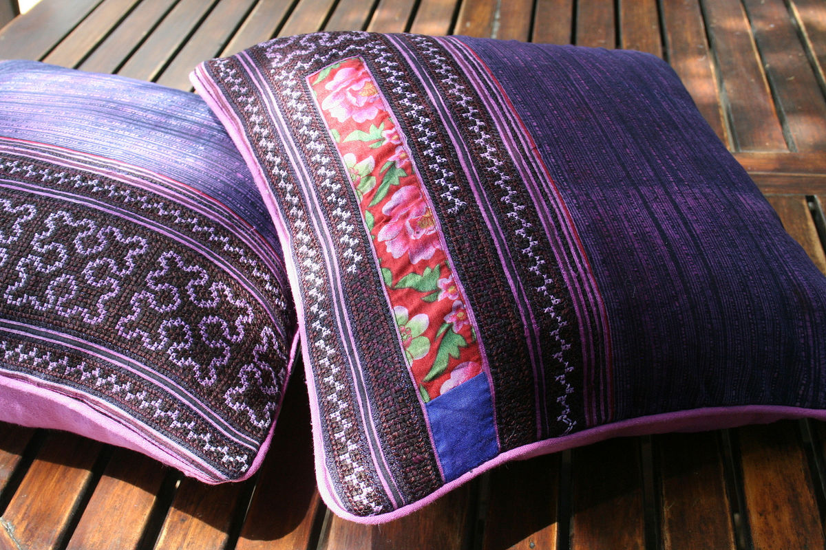 Purple Hmong Embroidered Pillow With Rose Edges - product images  of