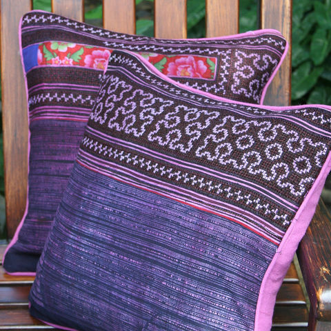 Purple,Hmong,Embroidered,Pillow,With,Rose,Edges,boho pillow, purple Hmong pillow, pink pillows, purple and pink embroidered pillows, colorful pillows, bright boho cushions, colorful boho cushions