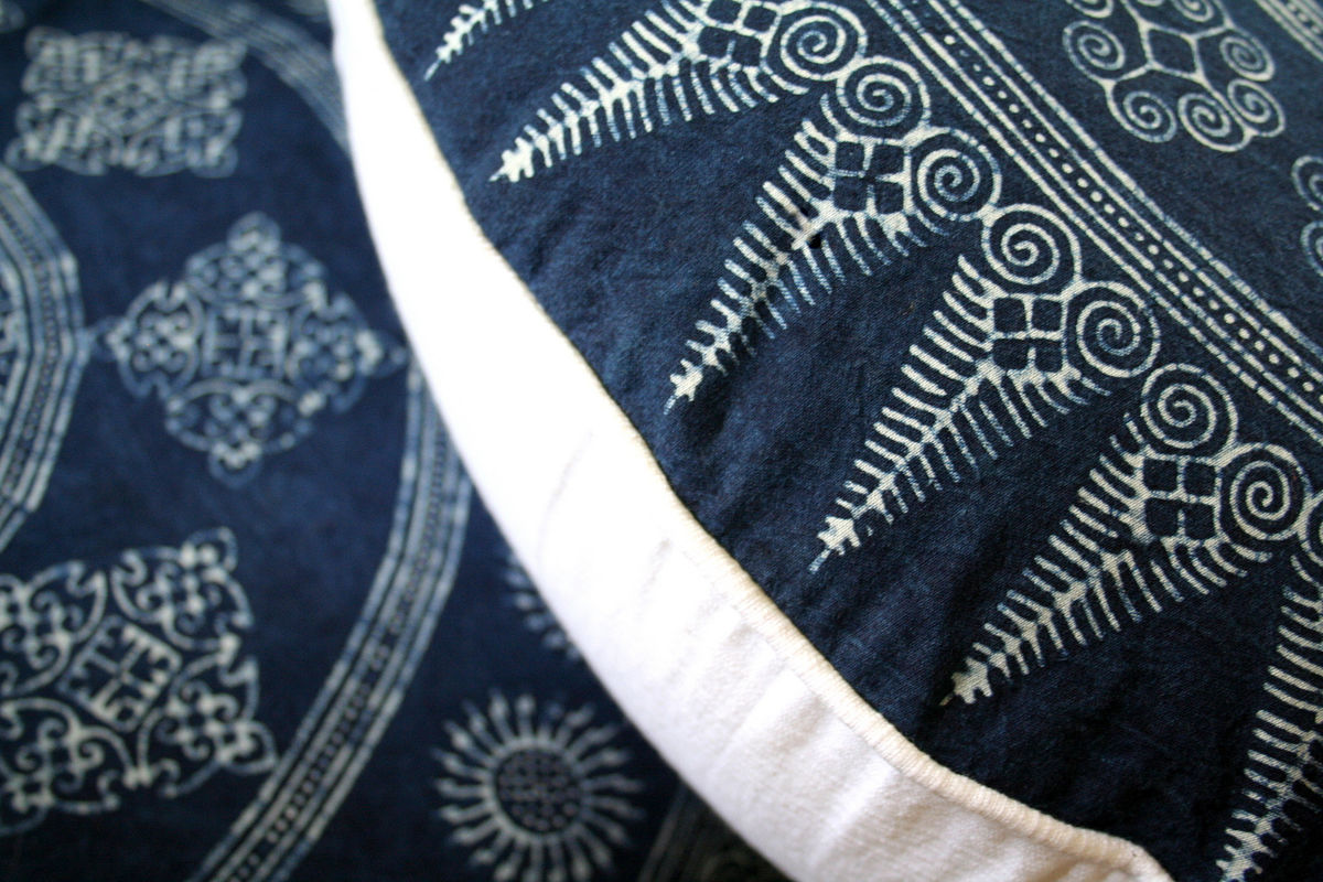 "30""  Round Floor Pillow In Hmong Indigo Batik  - product images  of"