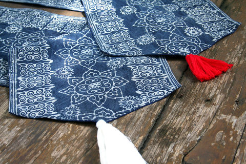 Table,Runner,In,Hmong,Natural,Indigo,Batik,With,Tassel,Ends,Hmong indigo batik table runner, boho table runner, long indigo batik table runner, ethnic home decor, 5 foot table runner, bohemian table
