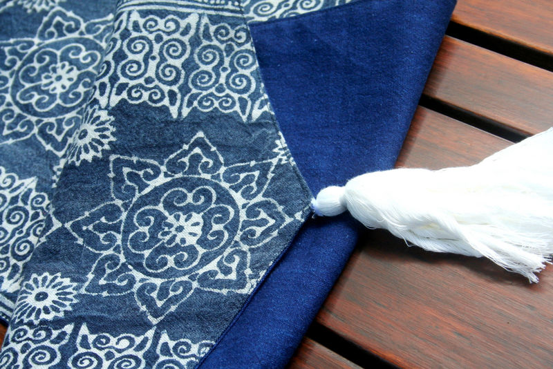 Table Runner In Hmong Natural Indigo Batik With Tassel Ends - product images  of
