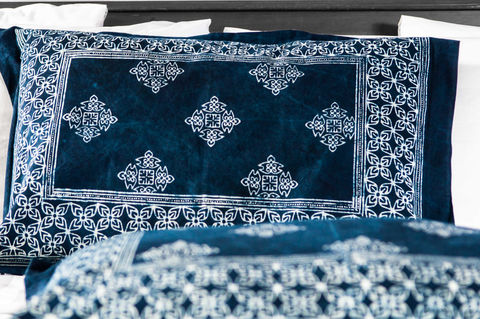 Indigo,Batik,Bed,Pillow,Shams,Standard,or,King,indigo batik bed pillow shams, Hmong indigo batik pillow covers, natural plant dyed cotton pillow covers, blue bed shams,  standard bed shams in blue, batik bed shams