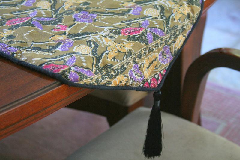 indonesian batik decor khaki green floral table runner 30 inch floor cushions or lumbar pillows siamese dream design
