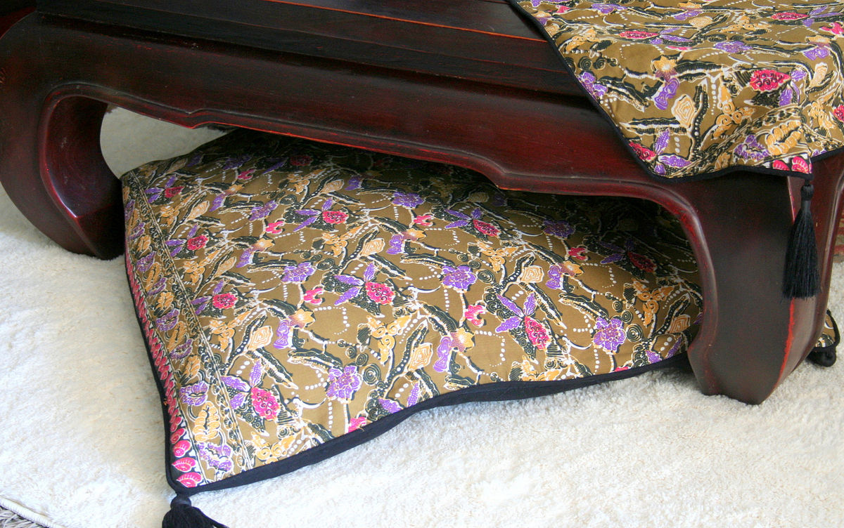 Indonesian Batik Decor, Khaki Green Floral Table Runner, 30 inch Floor Cushions Or Lumbar Pillows - product images  of