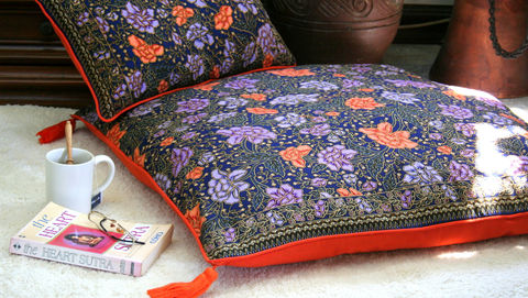 Indonesian,Batik,Decor,,Navy,and,Orange,Floral,Table,Runner,,30,inch,Floor,Cushions,Or,Lumbar,Pillows,bohemian pillows,  boho table runner,  batik pillows,  navy and orange, large floor cushions,  boho pillows, floral pillows,  floral table runner,  large pillows,  Siamese Dream Design,  boho pillows with tassels,  flower cushions