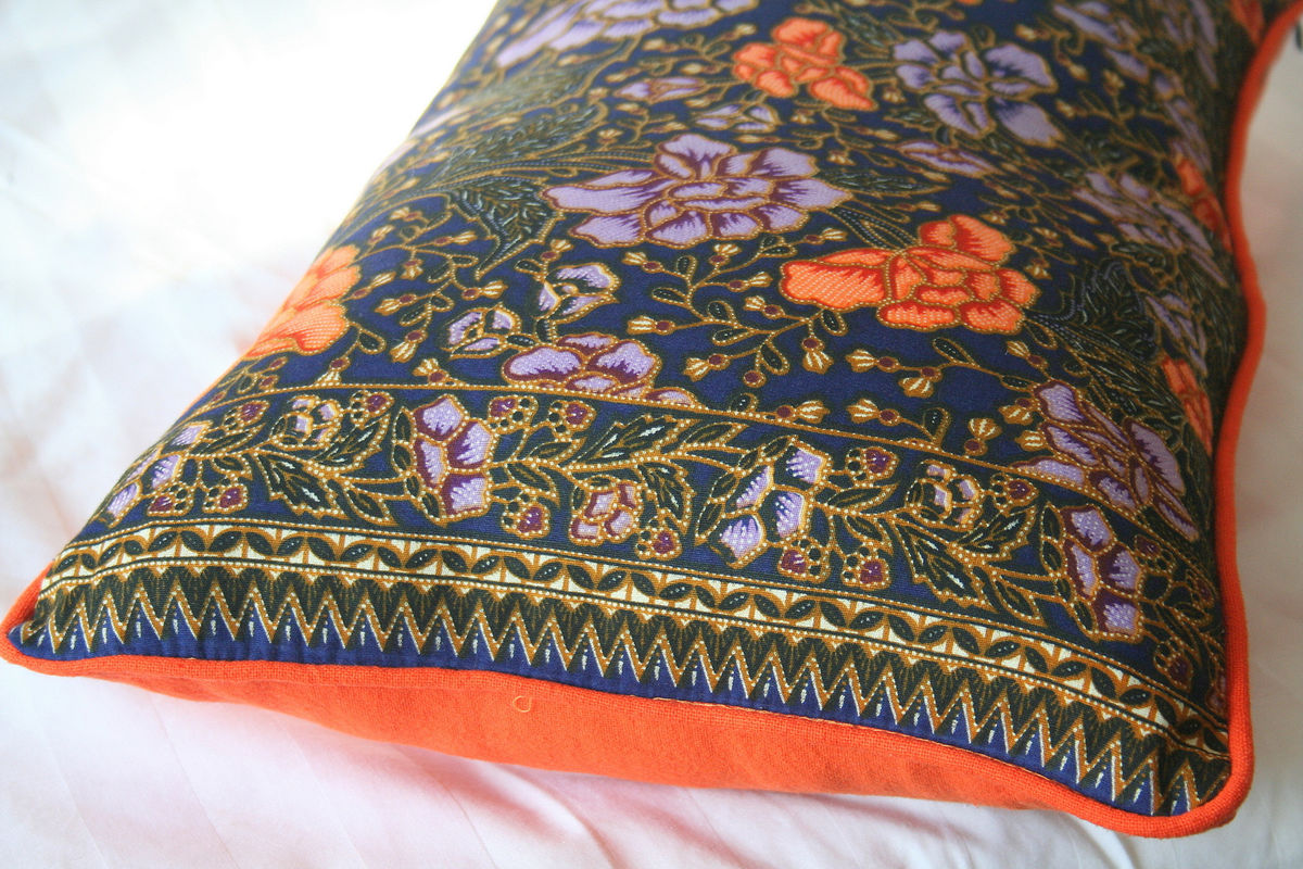 Indonesian Batik Decor, Navy and Orange Floral Table Runner, 30 inch Floor Cushions Or Lumbar Pillows - product images  of