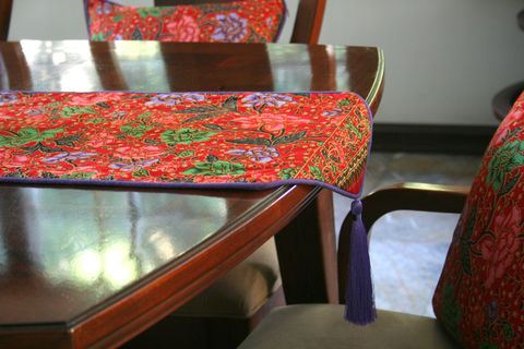 Indonesian,Batik,Decor,,Red,With,Lavender,Table,Runner,,20,inch,Cushions,Or,16,Pillows,bohemian pillows,  boho table runner,  batik pillows,  large red cushions, large floor cushions,  boho pillows, floral pillows,  floral table runner,  large pillows,  Siamese Dream Design,  boho pillows with tassels,  flower cushions