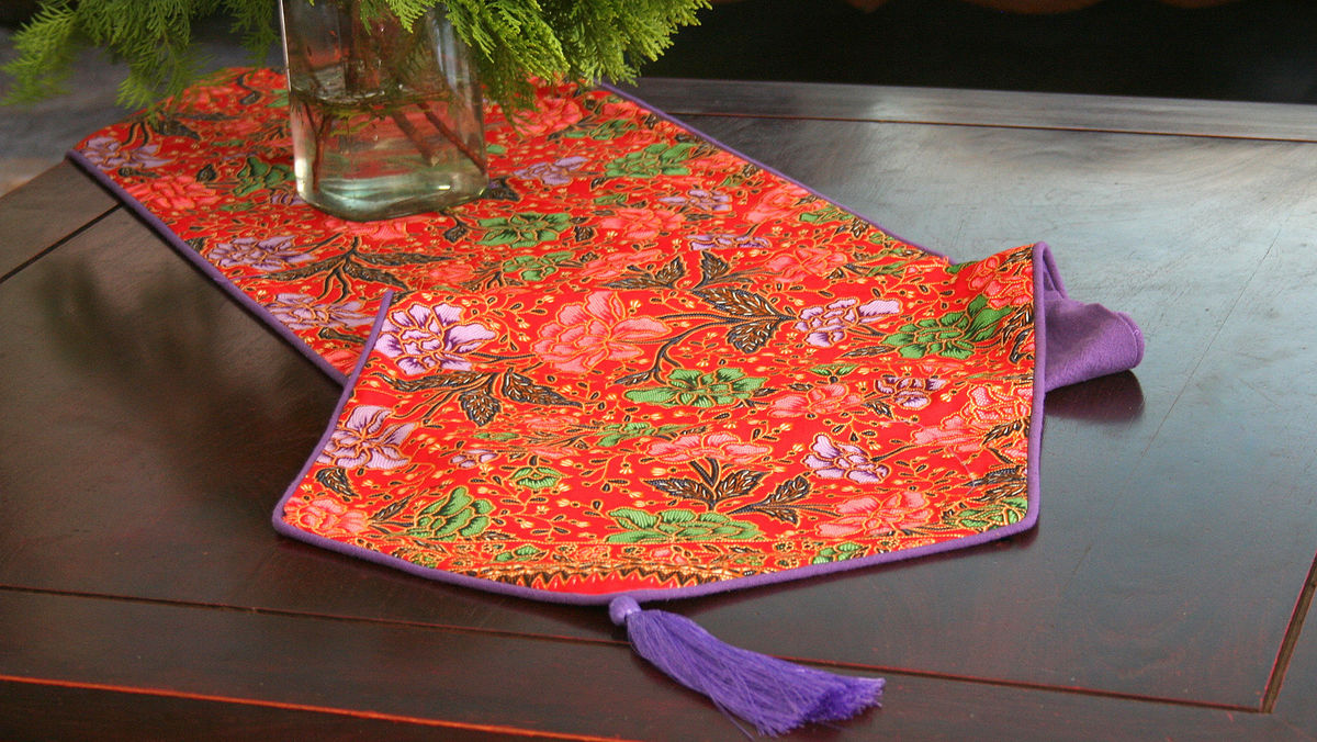Indonesian Batik Decor, Red With Lavender Table Runner, 20 inch Cushions Or 16 inch Pillows - product images  of