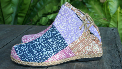 Amber,-,Boho,Womens,Ankle,Boots,In,Pastel,Hmong,Batik,Patchwork,Hmong boots, Womens boots, ankle boots, patchork short boots, ethnic boots, Bohemian fashion, Boho boots, Hmong textiles, womens vegan boots, eco friendly fashion