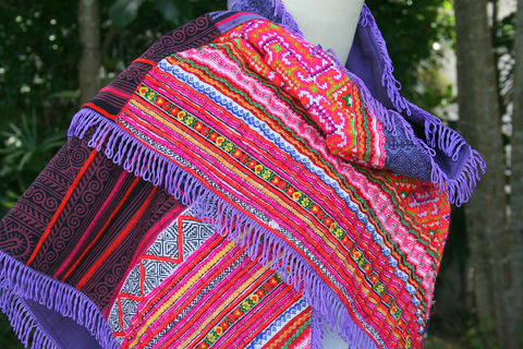 Women's,Triangle,Scarf,,Wrap,Or,Shawl,,In,Hmong,Patchwork,Boho scarf, boho wrap, Hmong patchwork, burning man, womens scarf, colorful scarf, triangle scarf,Hmong scarf, festival wear, boho clothing, shawl,