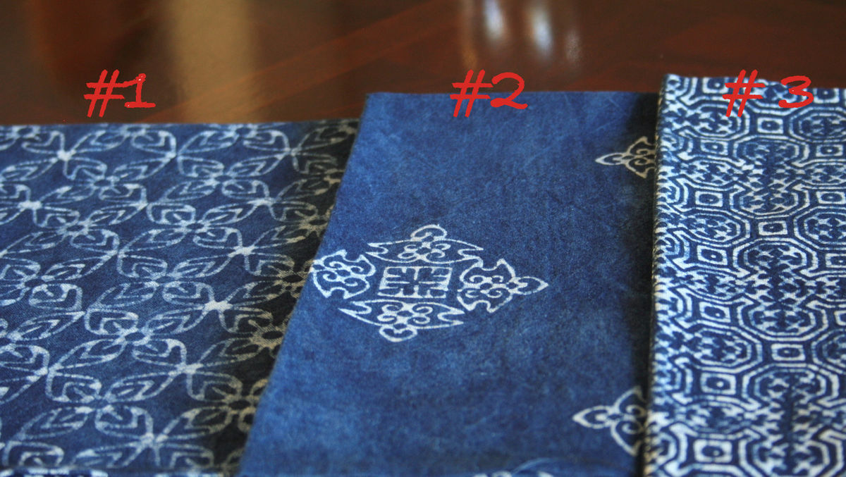 Napkins In Natural Indigo Batik Cotton, Choice Of 3 Hand Stamped Patterns - product images  of
