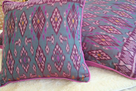 Indonesian,Ikat,Pillows,,20,inch,Or,16,Pillows,/,Cushions,bohemian pillows, abstract pillow,  ikat pillows,  ethnic cushions,  boho pillows, 20 inch pillows,  large pillows,  Siamese Dream Design,  pink boho pillows