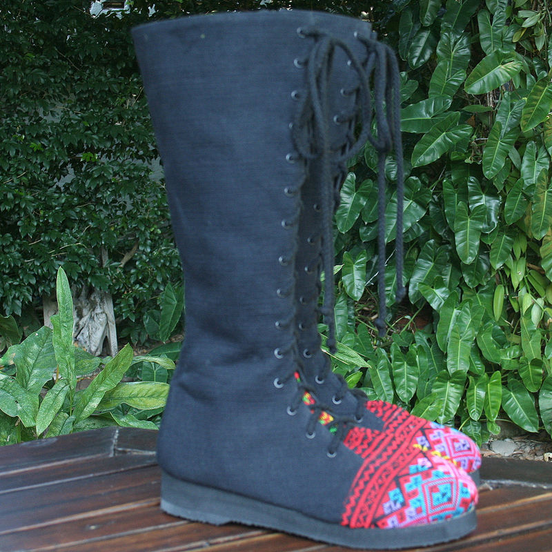 Sadie Womens Tall Boots With Colorful Ethnic Textiles Accents - product images  of