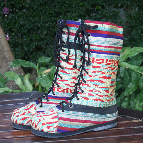 Britta,Womens,Combat,Boot,in,Colorful,Laos,Embroidery,Clothing,Shoes,Women,tribal,boots,handmade,ethnic,embroidered womens boots,combat,womens,Loas, bohemian_boots,vegan_boots,festival_wear,10,cotton,natural cotton,embroidered boots,rubber