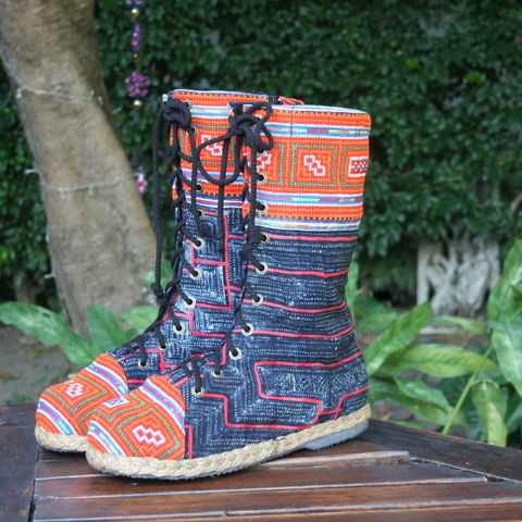 Britta,Womens,Combat,Boot,in,Hmong,Embroidery,And,Indigo,Batik,Clothing,Shoes,Women,tribal, handmade womens boots,ethnic embroidered boots, embroidered womens boots,combat,womens,Loas, bohemian_boots,vegan_boots,festival_wear,10,cotton,natural cotton,embroidered boots,rubber