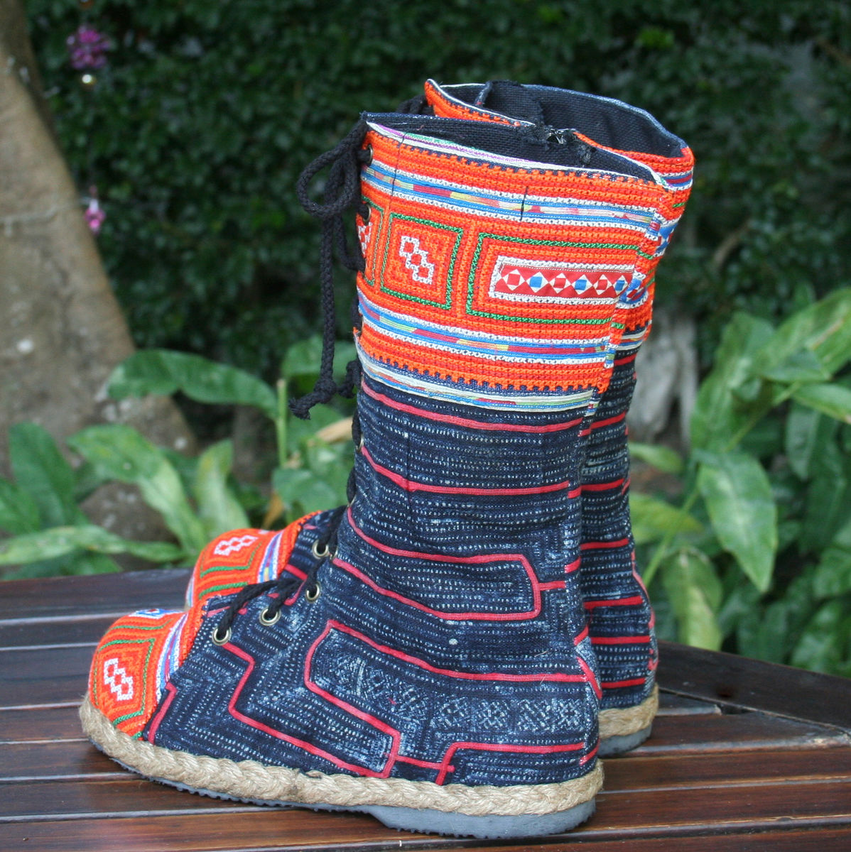 Britta Womens Combat Boot in Hmong Embroidery And Indigo Batik - product images  of