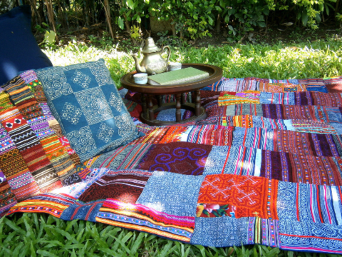 Custom,Made,Hmong,Picnic,Blanket,Or,Throw,,In,Embroidery,&,Batik,Patchwork,patchwork throw blanket, Hmong blanket, colorful boho picnic blanket, embroidered blanket,