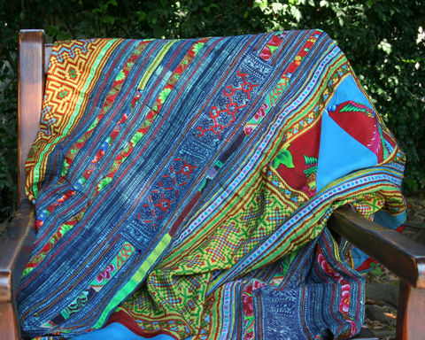 Custom,Made,Hmong,Picnic,Blanket,Or,Throw,,In,Vintage,Embroidery,and,Batik,vintage throw blanket, colorful Hmong blanket, colorful boho picnic blanket, embroidered blanket, small  blanket with embroidery