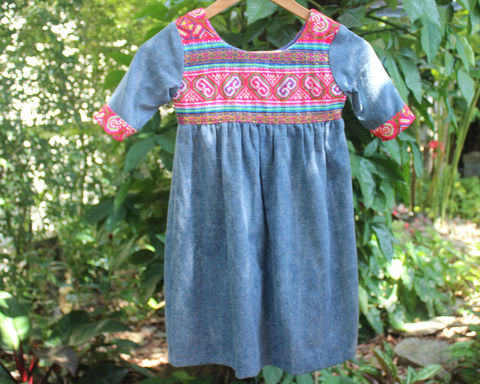 Scarlett,-,Little,Girls,Bohemian,Style,Dress,In,Chambray,Blue,With,PInk,Natural Childrens Clothing,Boho Dress,girls Bohemian dress,boho kids,little_girls_blue_dress,bohemian_child,eco_friendly_clothes,Hmong_dress,hippie_chic,hippie_kids,ethnic_clothes,boho,girls_clothes,fair_trade,natural cotton,embroidered little