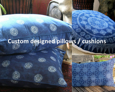 Custom,Made,Indigo,Batik,Pillows,,Double,Sided,custom made pillows, design your own pillows or cushions, boho pillows, large floor pillows, 30 inch floor cushions, Hmong indigo batik pillows, boho pillows with fringe or pom poms