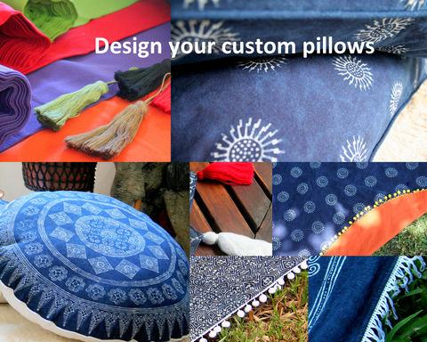 Custom,Made,Indigo,Batik,Pillows,With,Colorful,Cotton,Backing,And,Rolled,Edges,custom made pillows, design your own pillows or cushions, boho pillows, large floor pillows, 30 inch floor cushions, Hmong indigo batik pillows, boho pillows with fringe or pom poms