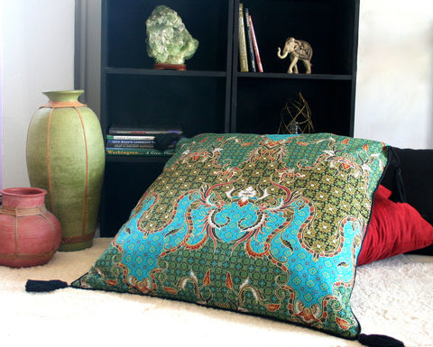 Teal,And,Green,Indonesian,Batik,30,inch,Floor,Cushions,bohemian pillows,  batik pillows,  teal and gold pillows, large floor cushions,  boho pillows, floral pillows,  large pillows,  Siamese Dream Design,  boho pillows with tassels,  flower cushions, Indonesian batik pillows with tassels