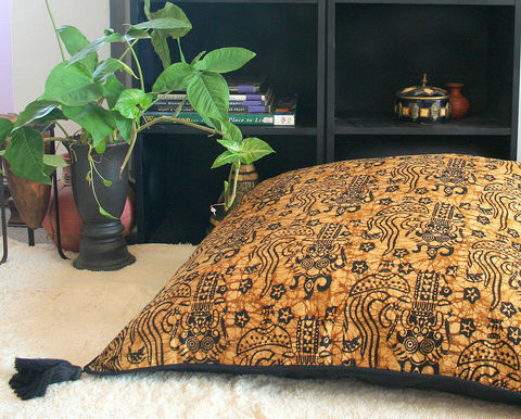 Tan,And,Black,Bali,Batik,30,inch,Floor,Cushions,Featuring,Barong,bohemian pillows,  bali pillows, Barong, batik pillows,  black and tan pillows, large floor cushions,  boho pillows, floral pillows,  large pillows,  Siamese Dream Design,  boho pillows with tassels,  flower cushions, Indonesian batik pillows with tassels